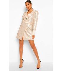 blazer jurk 2 tone met pailletten en ceintuur, stone