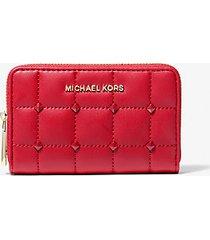 mk portafoglio piccolo trapuntato con borchie - rosso brillante (rosso) - michael kors