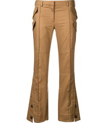 rokh structured cropped trousers - neutrals