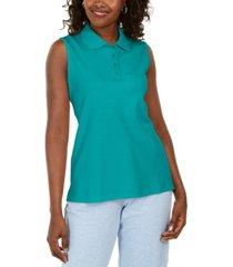 karen scott cotton sleeveless polo shirt, created for macy's