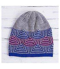 reversible 100% alpaca hat, 'quechua style' (peru)