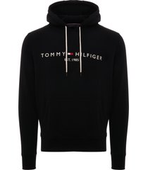 tommy hilfiger tommy logo hoodie - black mw0mw07609