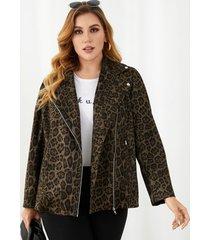 yoins talla grande cuello de solapa leopardo bolsillos con cremallera chaqueta de manga larga