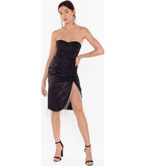 womens takes two to tango satin fringe skirt - black