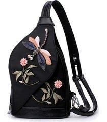 mochilas/ libélula bordado mujeres mochila material-negro