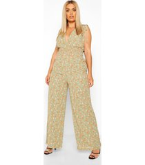 plus floral shired tie detail wide leg jumpsuit, sage