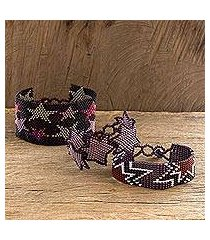 beaded wristband bracelets, 'stars in purple' (set of 3) (guatemala)