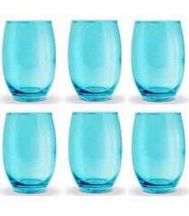 conjunto de copos bellagio azul 450ml - com 6 peças - casa linda - tricae