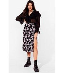 womens bad and bouquet plus midi skirt - black