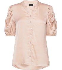 satin stretch - naolin blouses short-sleeved roze sand