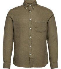 clean linen slim shirt skjorta casual grön j. lindeberg