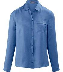 blouse met lange mouwen en opgestikte borstzak van basler blauw