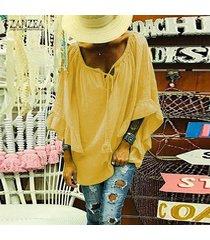 zanzea camisa de manga acampanada de gran tamaño para mujer blusa con cuello en v llanura blusa de talla grande -amarillo