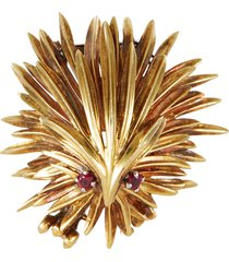 cartier 'porcupine' ruby gold brooch