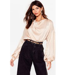 womens just batwing it satin tie blouse - champagne
