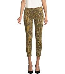 paul & shark women's the stiletto python-print crop jeans - burme - size 30 (8-10)