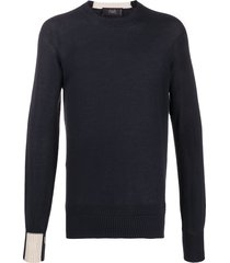 maison flaneur contrast-cuff sweater - blue