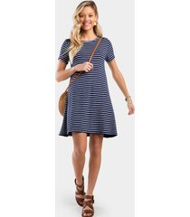 fannin stripe button back dress - navy