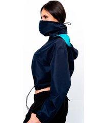 chaqueta con tapabocas azul oscura
