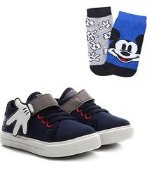 kit tênis infantil disney mickey mão + 2 meias masculino - masculino