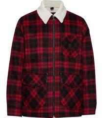 wool loco sherpa ulljacka jacka röd lee jeans