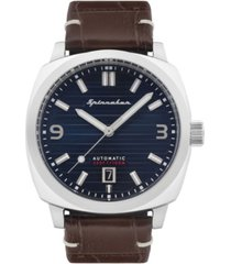 spinnaker men's hull riviera automatic brown genuine leather strap watch 42mm