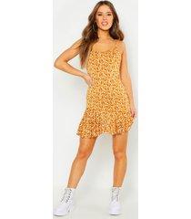 petite ditsy floral wrap mini dress, yellow