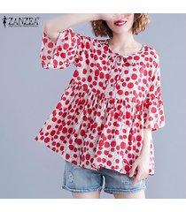 zanzea camisa casual con cuello redondo y lunares para mujer blusa casual suelta jumper tops -rojo