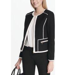 calvin klein piped-trim jacket