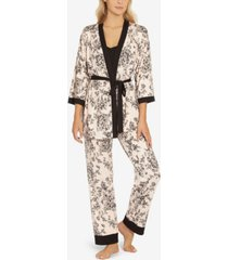 linea donatella toile buds camisole pant and wrap, 3 piece set
