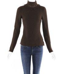 carolina herrera cashmere knit lace turtleneck sweater brown sz: m