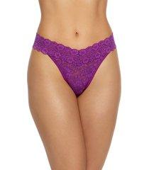 women's hanky panky regular rise cross dye thong, size one size - purple