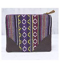 cotton cosmetic bag, 'delhi desire' (india)