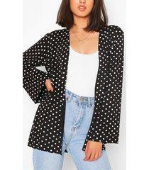 spot print kimono, black