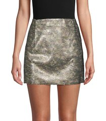 free people women's skinny sequin camo mini skirt - green multi - size 0