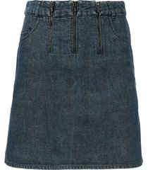 chanel pre-owned triple-zipper straight denim skirt - blue