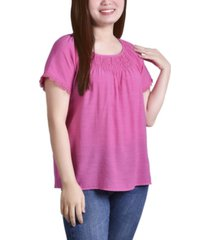 ny collection petite cap sleeve top with smocking and crochet trim