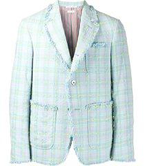 thom browne multi seersucker tweed fray edge sport coat - blue