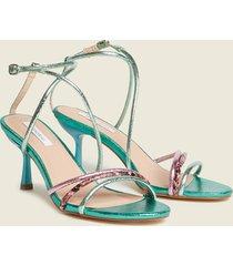 motivi sandali effetto metallizzato donna verde