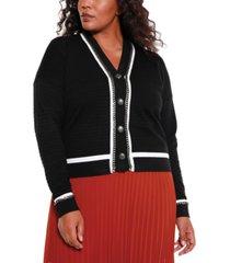 belldini black label women's plus size button down cardigan with chain detail