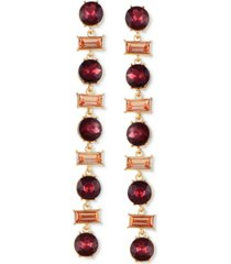 guess gold-tone crystal & burgundy stone linear drop earrings