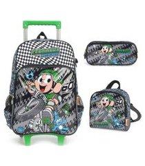 kit mochila infantil com rodinhas cebolinha com lancheira e estojo duplo