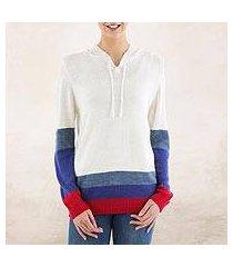 hoodie sweater, 'ivory imagination' (peru)