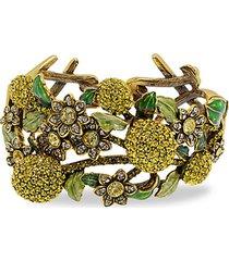 a lot of lemons crystal floral cuff bracelet
