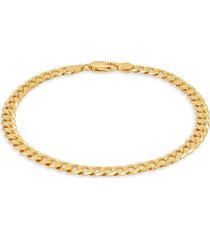 saks fifth avenue made in italy men's gold over silver curb chain bracelet