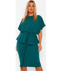 plus peplum jurk met boothals, smaragd