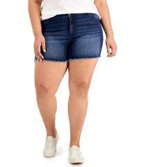 celebrity pink trendy plus size frayed-hem denim shorts
