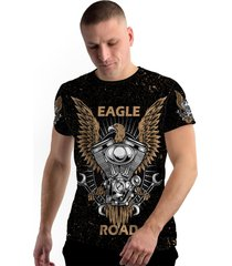camiseta stompy new collection eagle moto road preto - kanui