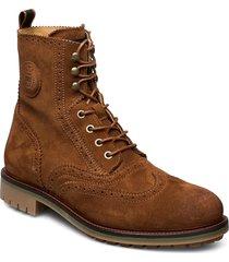 borrel mid laceboot snörade stövlar brun scotch & soda shoes