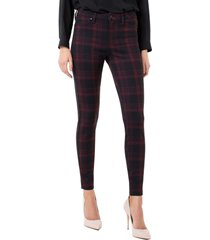 liverpool plaid super skinny knit pants, size 16p in red/black at nordstrom
